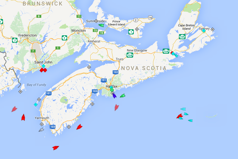 The seas around Nova Scotia, 6:15am Friday. Note the heavy tanker traffic (red ships) and all the activity around the Sable Island gas field.The blue ship approaching Halifax Harbour is the Blue Star Ithaki passenger ferry. It wasn't listed with the usual port traffic, but here it is. Map: marinetraffic.com