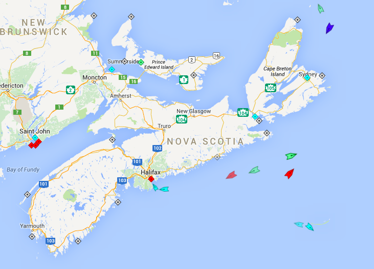 The seas around Nova Scotia, 6:30am Saturday. Map: marinetraffic.com