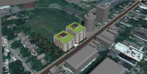 An architectural rendering of the proposed buildings is plopped atop a google map.