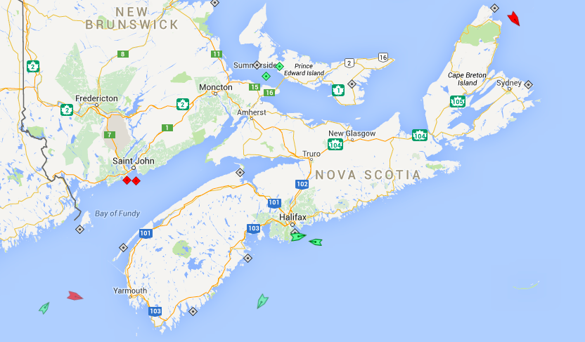 The seas around Nova Scotia, 6am Wednesday. Map: marinetraffic.com