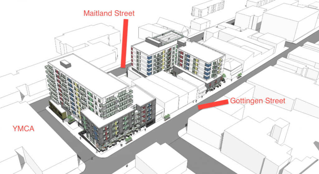 Architectural renderings of the proposed Gottingen Street buildings.