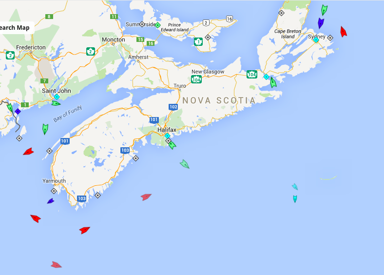 The seas off Nova Scotia, 6am Monday. Map: marinetraffic.com