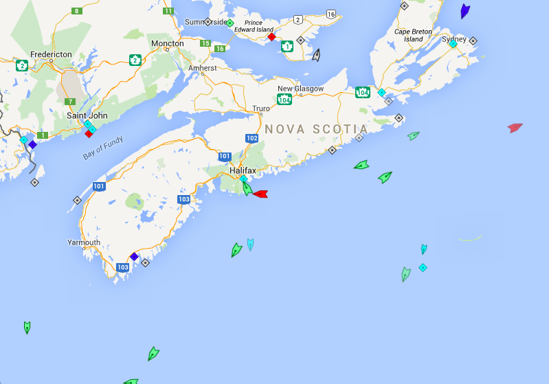 The seas around Nova Scotia, 5:30am Tuesday. Map: marinetraffic.com