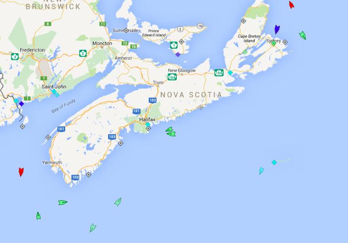 The seas off Nova Scotia, 6am Wednesday. Map: marinetraffic.com