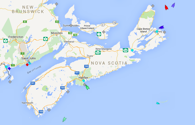 The seas around Nova Scotia, 6am Thursday. Map: marinetraffic.com