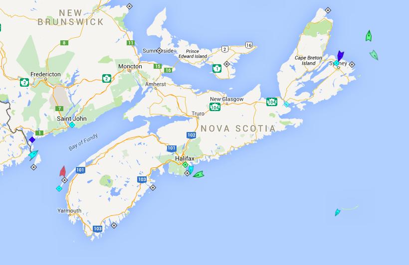 The seas around Nova Scotia, 6:30am Friday. Map: marinetraffic.com