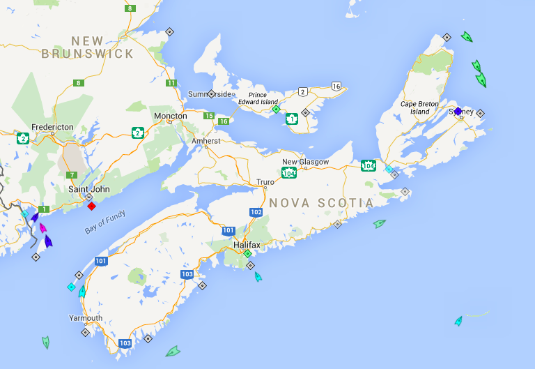 The seas around Nova Scotia, 8am Saturday. Map: marintraffic.com