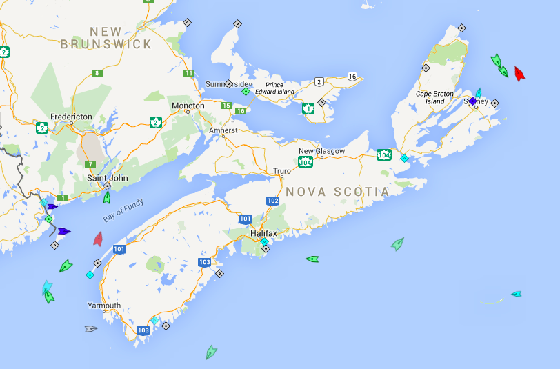 The seas around Nova Scotia, 7:45am Monday. None of the ships are heading to Halifax. Map: marinetraffic.com