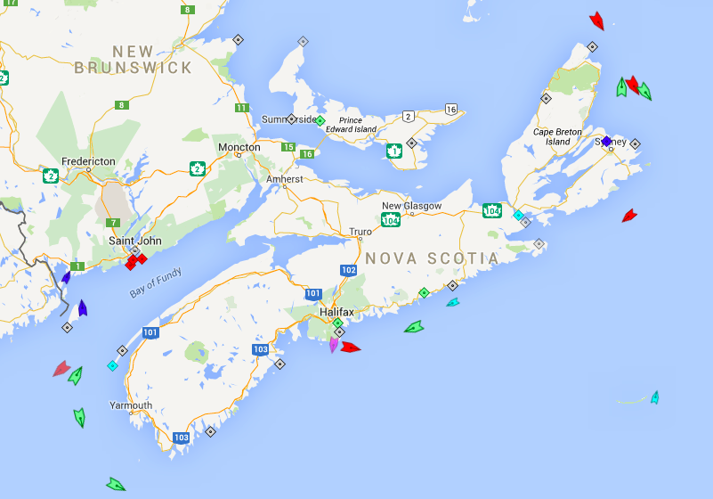 The seas around Nova Scotia, 6:45am Tuesday. Map: marinetraffic.com