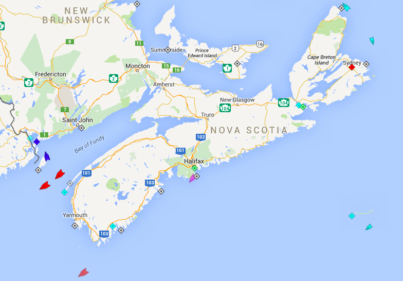 The seas off Nova Scotia, 8am Saturday. The pink boat off Sambro is the Pic Pocket, a yacht. Otherwise, there is no Halifax area traffic to report. Map: marinetraffic.com