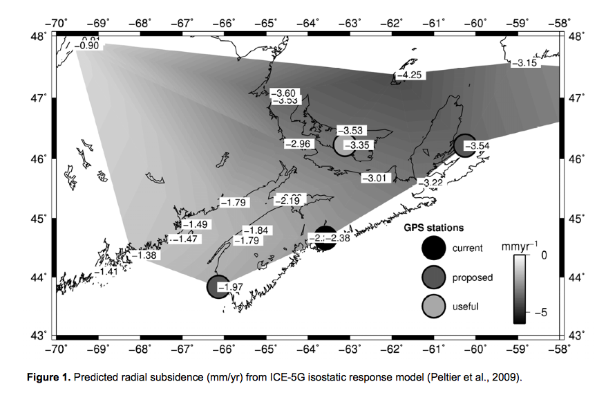 A map showing predicted subsidence of Nova Scotia.