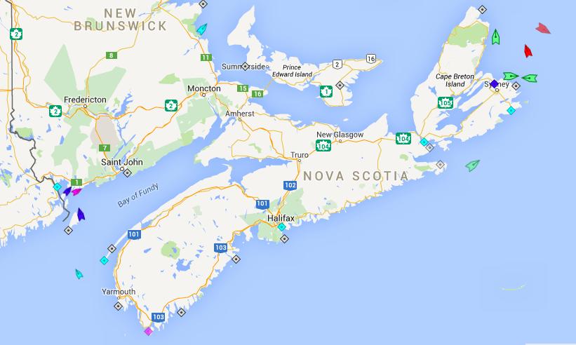 The mostly inactive seas around Nova Scotia, 7:45am Tuesday. Map: marinetraffic.com