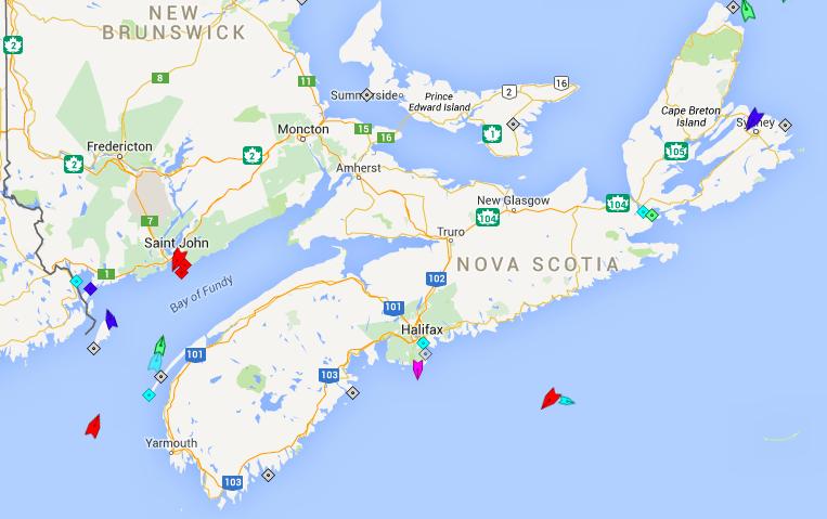 The seas around Nova Scotia, 8am Wednesday.