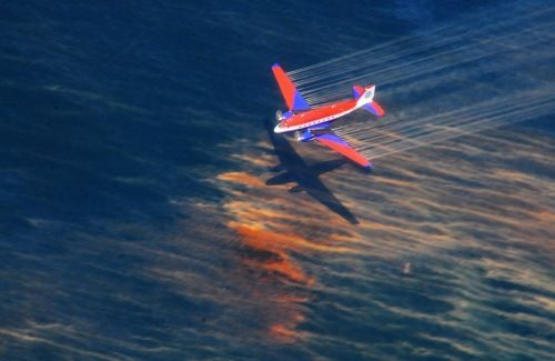A plane sprays Corexit on oil spilled during the Deepwater Horizon disaster.
