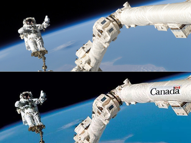 Top: The original NASA photo. Bottom: the image Photoshopped to illustrate just how pathetically provincial Canada can be. Source: The Economist