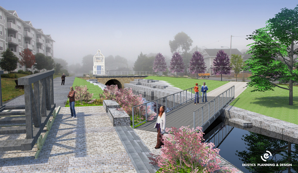 "Says Sam Austin: ""Image prepared by Ekistics and presented to Council by Canal Commission in 2011 showing an evolving concept that is still consistent with established vision. Water in the tailrace, multi-use trail and replica boat cradle. Rebuilt powerhouse in distance."" Most of this pretty picture is complete fiction, and is not reflected in the plans the city is about to bring to reality."