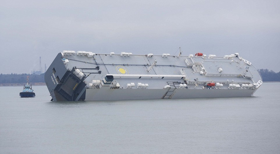 The Hoegh Osaka has run aground off Southampton, England. Photo: Daily Mail