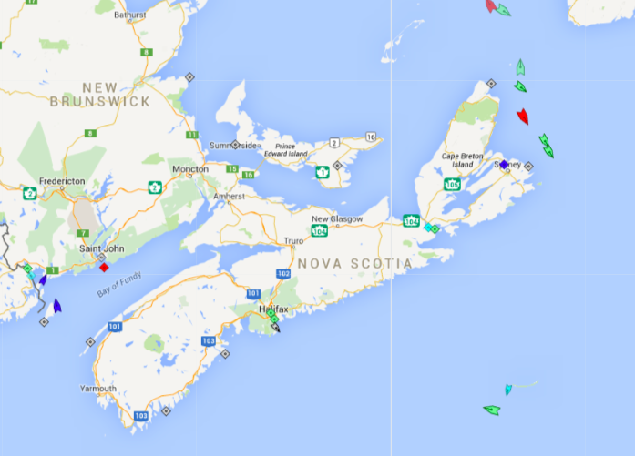 The seas around Nova Scotia, 7:45am Friday. Map: marinetraffic.com