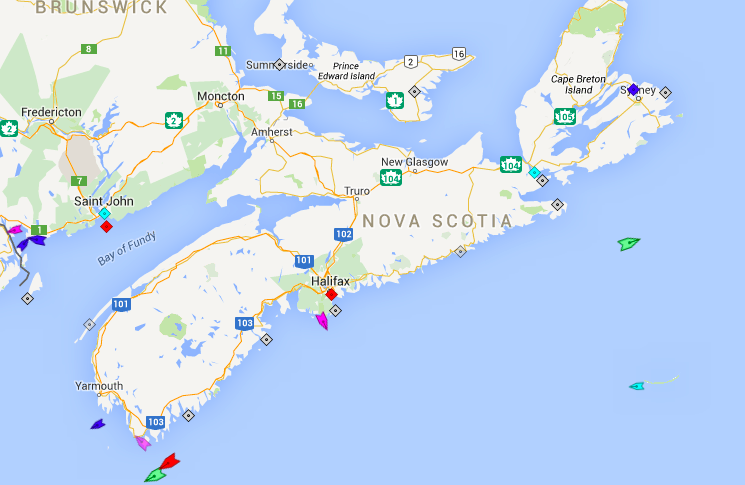 The seas around Nova Scotia, 9:30am Saturday. Map: marinetraffic.com