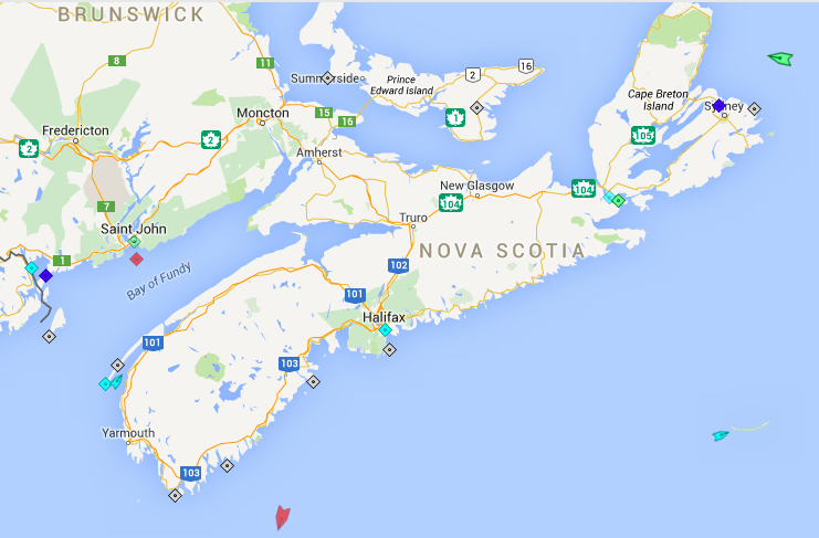 The seas around Nova Scotia, 6:30am Monday. Map: marinetraffic.com