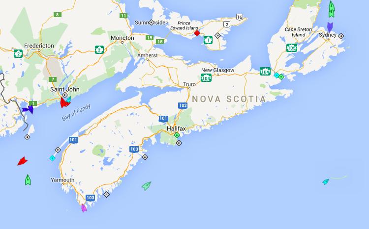 The seas off Nova Scotia, 9:30am Saturday. Map: marinetraffic.com