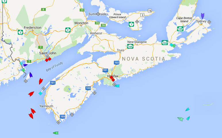 The seas around Nova Scotia, 7:45am Monday. Map: marinetraffic.com