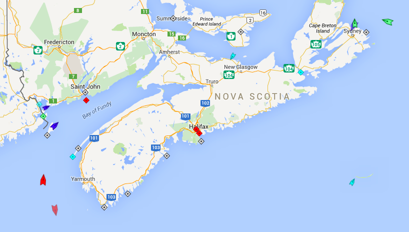 The seas around Nova Scotia, 7:45m Tuesday. Map: marinetraffic.com