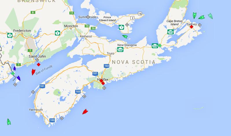 The seas off Nova Scotia, 7:30am Wednesday. Map: marinetraffi.com