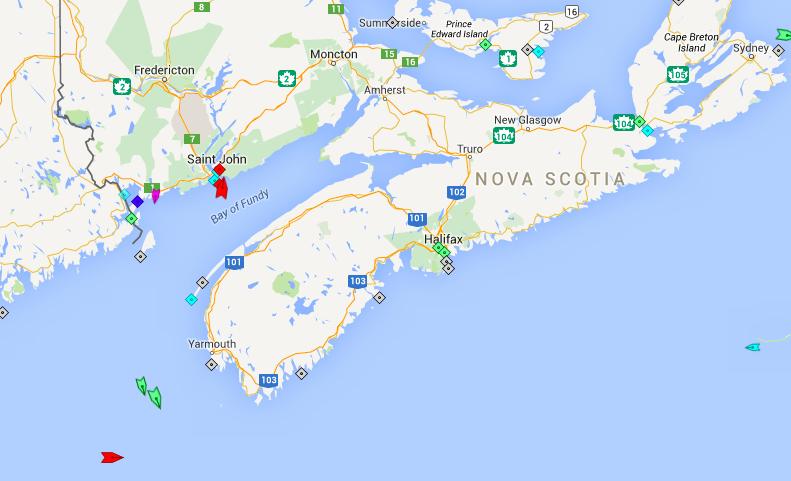 The seas around Nova Scotia, 7am Thursday. Map: marinetraffic.com
