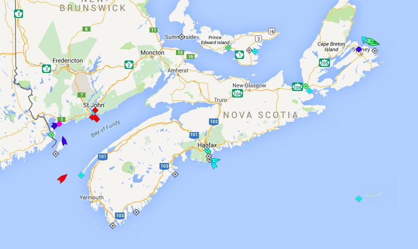 The seas around Nova Scotia, 8am Friday. Map: marinetraffic.com