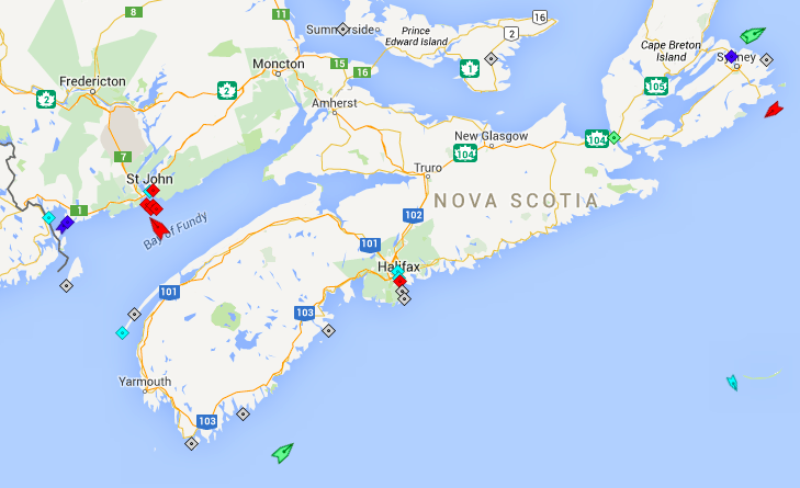 The seas around Nova Scotia, 7:30am Monday. Map: marinetraffic.com