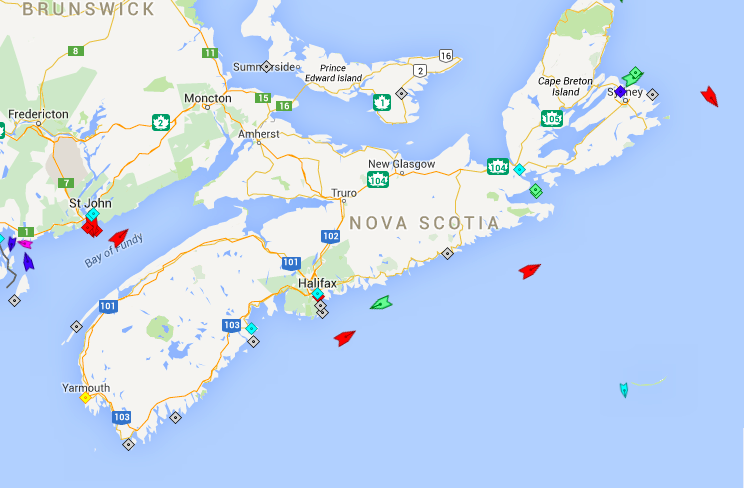 The seas off Nova Scotia, 8:30am Tuesday. Map: marinetraffic.com