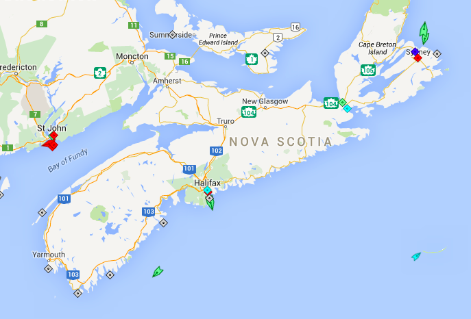 The seas around Nova Scotia, 8am Wednesday. Map: marinetraffic.com