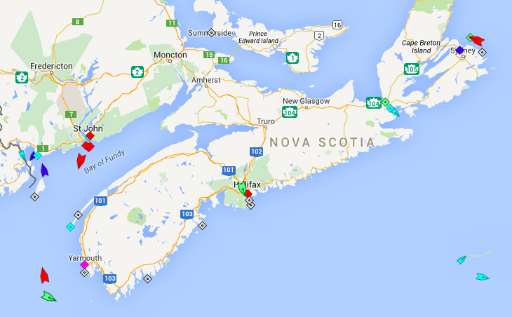 The seas around Nova Scotia, 8am Thursday. Map: marinetraffic.com
