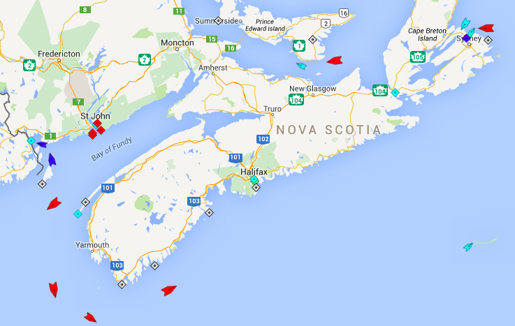 The seas around Nova Scotia, 8:30am Saturday. All those ships coloured red are oil tankers. Map: marinetraffi.com