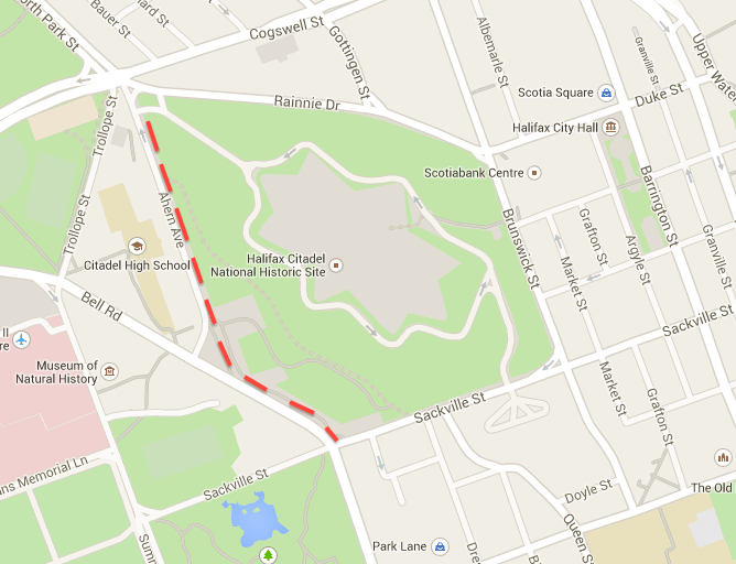 The sidewalks skirting Citadel Hill (red dashed line) are a mess. Google maps.