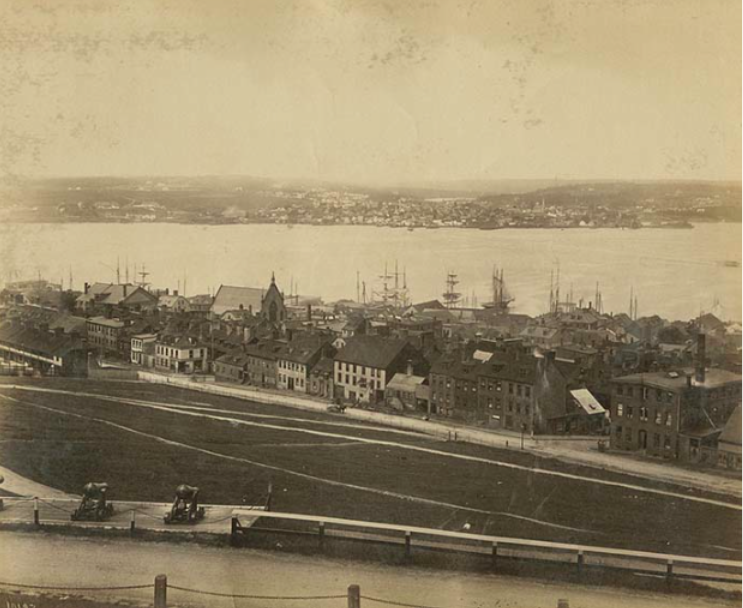 Unknown date, looking Northeast from Duke to Cogswell with Dartmouth in the background. Source: NS Archives