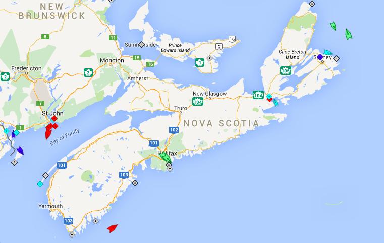 The seas around Nova Scotia, 7:30am Monday. Map: marinetraffic.com