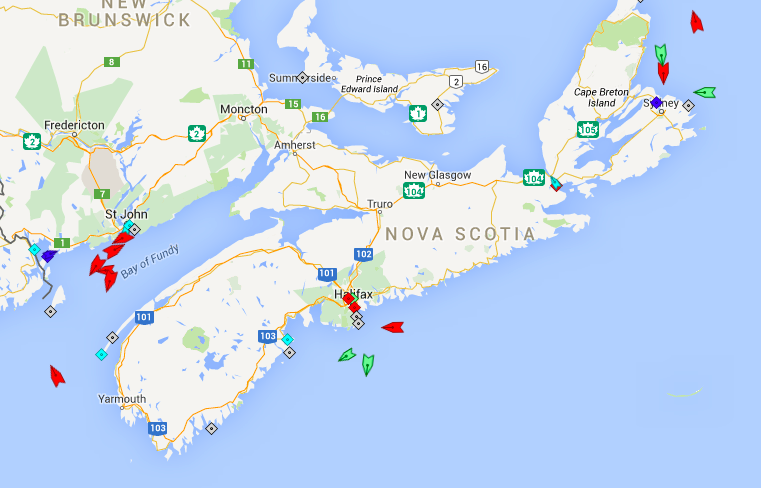 The seas around Nova Scotia, 7:30am Tuesday. Map: marinetraffic.com