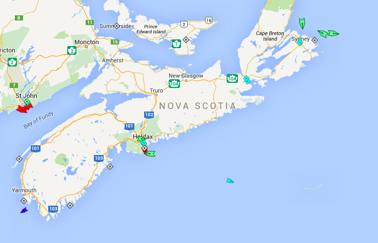 The seas off Nova Scotia, 7:30am Thursday. Map: marinetraffic.com