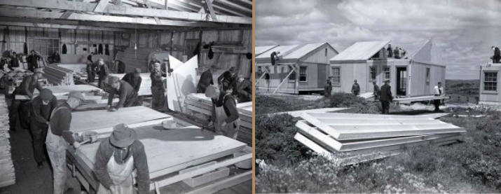 Wartime Housing Limited built the prefabricated walls and roof sections in a warehouse on North Barrington Street and delivered them to the crews at the development site to assemble. via http://needhamnews.ca