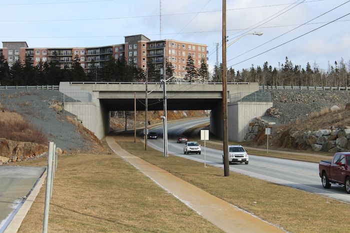 A string of new apartment buildings has arisen just beyond the Washmill underpass. Photo: Halifax Examiner