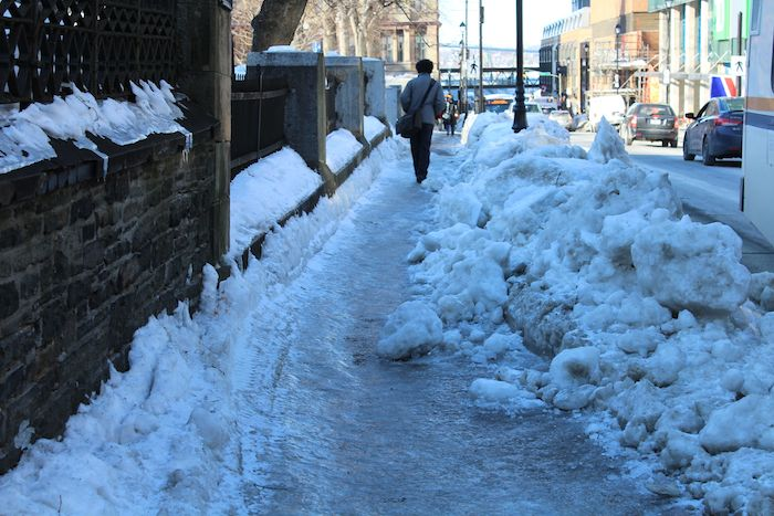 The iced-up sidewalk outside City Hall Tuesday. Photo: Halifax Examiner