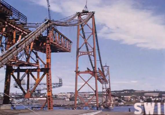 The Macdonald Bridge under construction.