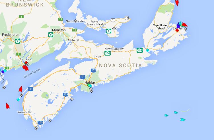 The seas around Nova Scotia, 7:15am Monday. Map: marinetraffic.ca