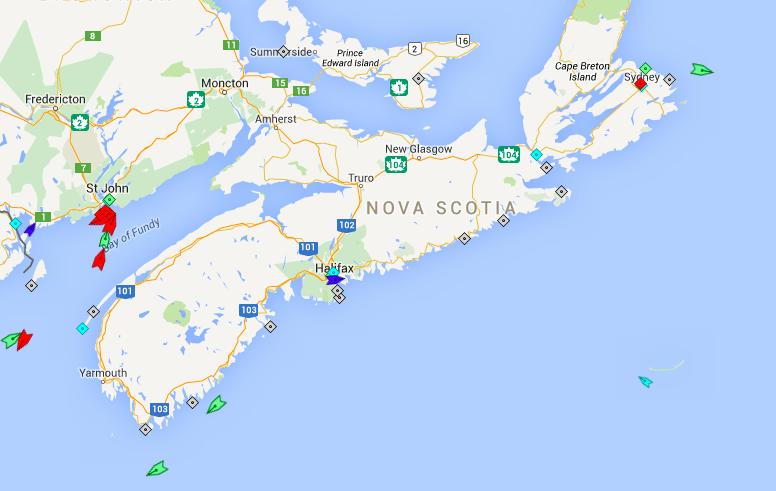 The seas around Nova Scotia, 8am Tuesday. Map: marinetraffic.com