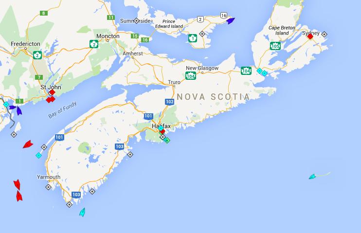 The seas around Nova Scotia, 8:45am Wednesday. Map: marinetraffic.com