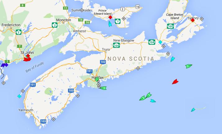 The seas off Nova Scotia, 9am Saturday. Map: marinetraffic.com