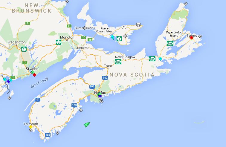 The seas around Nova Scotia, 7am Tuesday. Map: marinetraffic.com