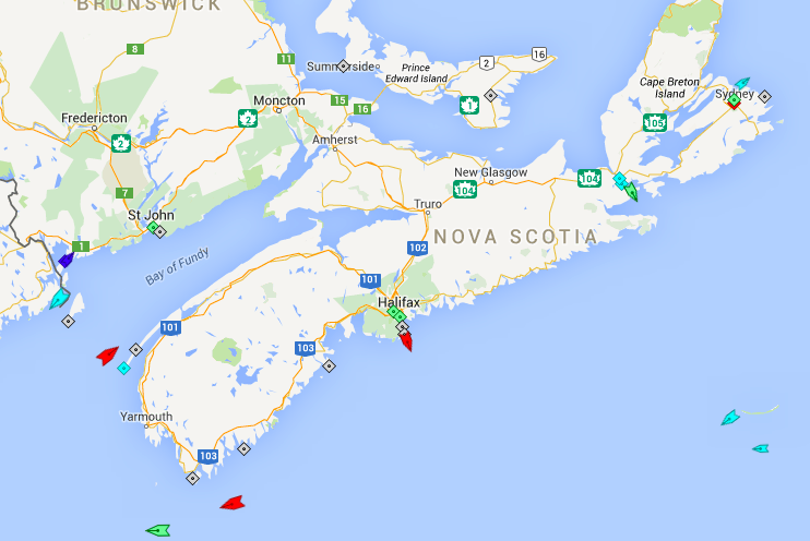 The seas around Nova Scotia, 8am Friday. Map: marinetraffic.com